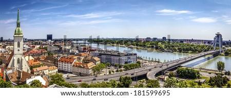Bratislava panorama on a sunny day, Slovakia - stock photo
