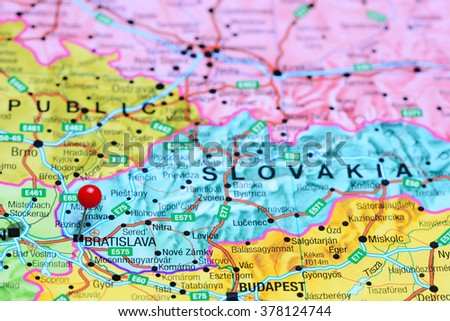 Bratislava Pinned On Map Slovakia Stock Photo Royalty Free