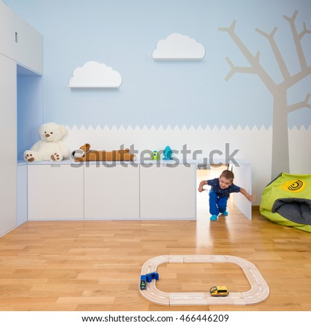 BRATISLAVA, SLOVAKIA - JUL 19, 2016: Interior of kids play room with toys created by young interior designers from Kivvi architects based in Bratislava, Slovakia