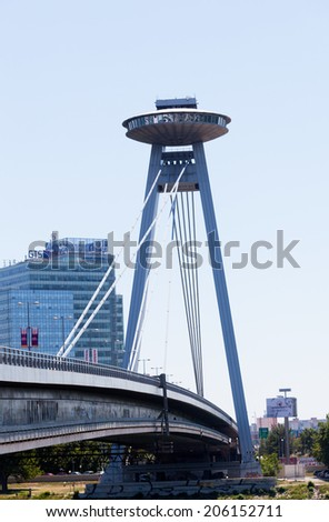 BRATISLAVA, SLOVAKIA - JULY 22,2013 :New bridge, Bratislava. It is the only bridge, not having any support in line with the Danube River and considered as the biggest in the city  - stock photo