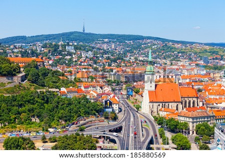 BRATISLAVA, SLOVAKIA-JULY 22, 2013: View of old castle in Bratislava. Bratislava is the only capital of the world which directly borders on two other states Austria and Hungary.  - stock photo