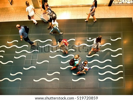 Bratislava, Slovakia - June 07, 2011: people walking inside the terminal of Bratislava Airport (built in 1938), Bratislava Airport is the main international airport of Slovakia.