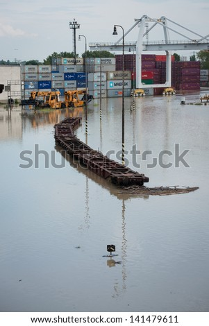 BRATISLAVA, SLOVAKIA - JUNE 6:  The water of Danube river flooded the Port of Bratislava on June 6, 2013 in Bratislava - stock photo