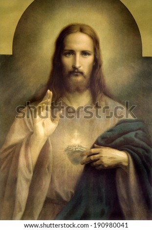 BRATISLAVA, SLOVAKIA, MARCH 8, 2011: Copy of typical catholic image of heart of Jesus Christ probably original by Czech painter Emanuel Dite (1862  - 1944). - stock photo