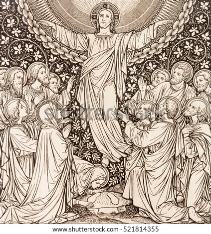BRATISLAVA, SLOVAKIA, NOVEMBER - 21, 2016: The lithography of Ascension in Missale Romanum by unknown artist with the initials F.M.S from end of 19. cent. and printed by Typis Friderici Pustet.
