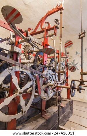 BRATISLAVA, SLOVAKIA - OCTOBER 11, 2014: The detail of old clock-work from tower-clock on the St. Martins cathedral at work. Anyone parts of the machine are from year 1766 by master Jacob Halth.