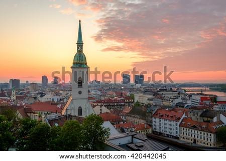Bratislava, Slovakia sunrise cityscape - stock photo