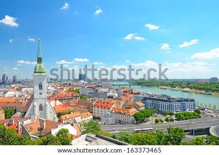 Bratislava, Slovakia, top view - stock photo