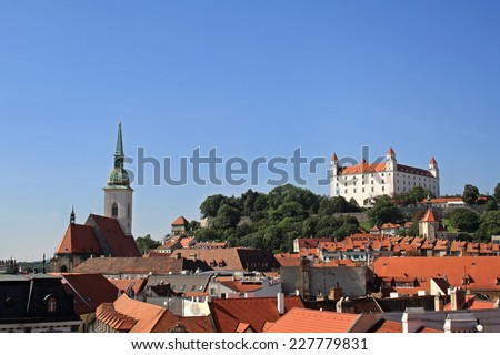 Bratislava view with Bratislava Castle and St. Martin's Cathedral - stock photo