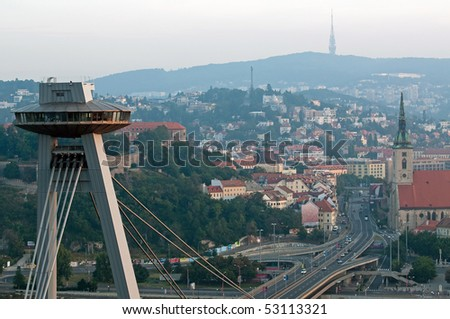 Bratislava with UFO restaurant on top of new bridge, Slovakia - stock photo