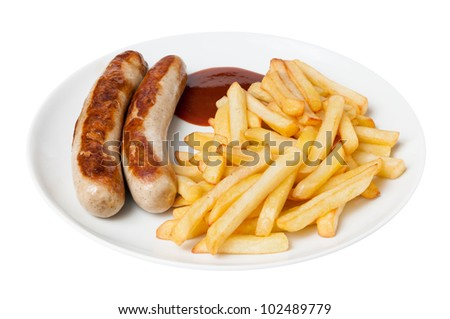 Bratwurst and french fries - stock photo