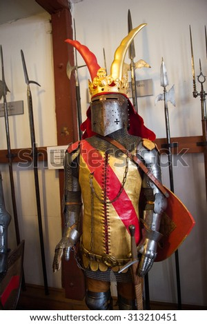 BRAUBACH, GERMANY - JUNE 10, 2015: Old armour in the Marksburg castle. It is one of the principal sites of the UNESCO World Heritage Rhine Gorge