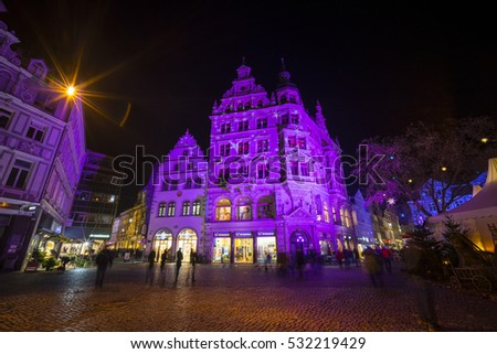 Braunschweig, Germany - December 03, 2016: Christmas light on the streets in old Braunschweig city, Lower Saxony, Germany.