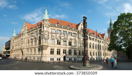 BRAUNSCHWEIG, GERMANY - JUNE 06, 2015: Monument 2000 years of Christianity and city hall in Braunschweig, Germany