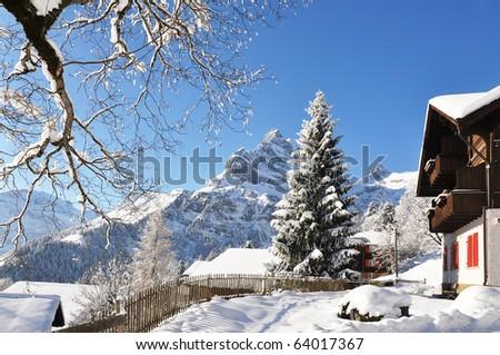 Braunwald, famous Swiss skiing resort - stock photo