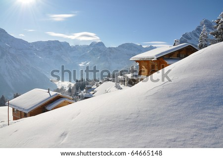 Braunwald, famous Swiss skiing resort - stock photo