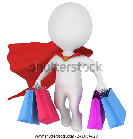 Brave hero with red cloak and colored paper shopping bags flying above. Isolated on white 3d man. Merchandise, shopping, mystery shopper concept. - stock photo