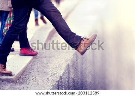 Brave man moving forward, determined - stock photo