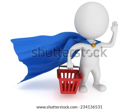 Brave superhero merchandiser with blue cloak and red shopping basket. Isolated on white 3d man. Merchandise, shopping, mystery shopper concept. - stock photo