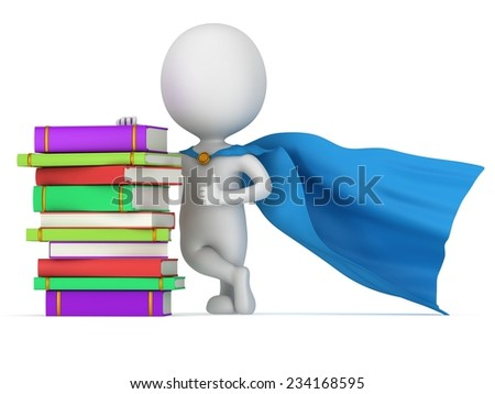Brave superhero teacher with blue cloak and colored books. Isolated on white 3d man. Learn, school, wisdom concept. - stock photo