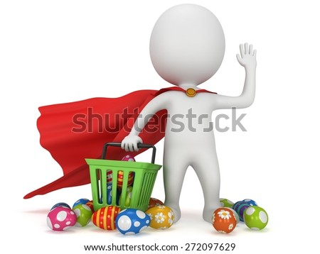 Brave superhero with blue cloak and red shopping basket full of Easter Eggs. Isolated on white 3d man. Merchandise, shopping, mystery shopper concept. - stock photo