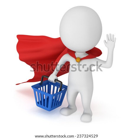 Brave superhero with red cloak and blue shopping basket. Isolated on white 3d man. Merchandise, shopping, mystery shopper concept. - stock photo