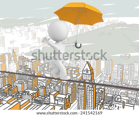 Brave. The Dude walking on a rope over abstract orange cityscape. - stock photo
