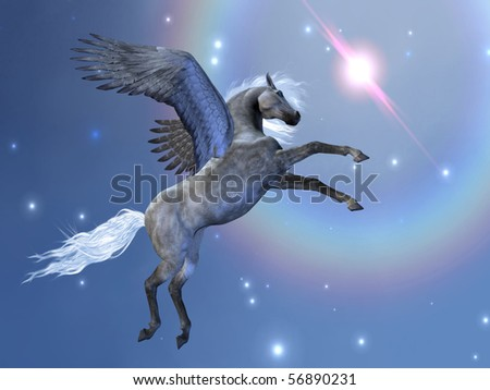 BRAVEHART - Pegasus flies up among the stars in the sky. - stock photo