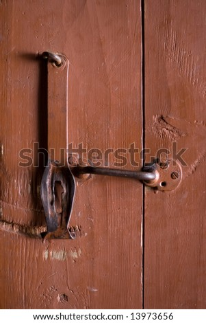 Brawn door with old lock - stock photo