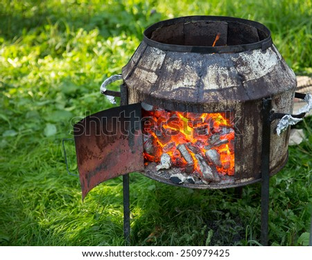 Brazier outdoor - stock photo