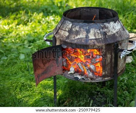 Brazier outdoor - stock photo