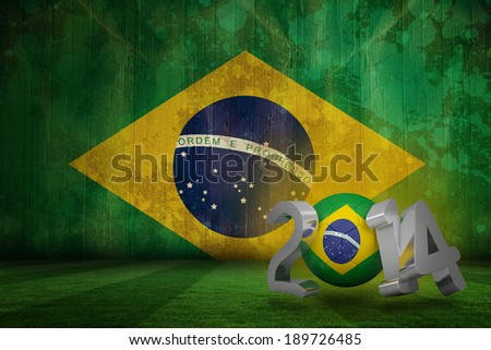 Brazil 2014 against brazil flag in grunge effect - stock photo