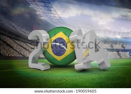 Brazil 2014 against large football stadium with lights - stock photo
