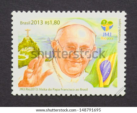 BRAZIL - CIRCA 2013: a postage stamp printed in Brazil commemorative of pope Francis I, born Jorge Mario Bergoglio, visit to the World Youth Day 2013 held in Rio de Janeiro, circa 2013.  - stock photo