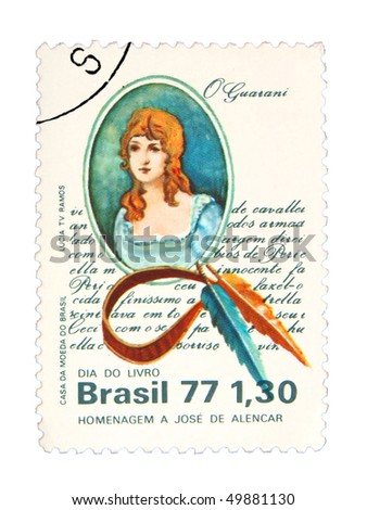 BRAZIL - CIRCA 1977: A stamp printed in Brasil showing woman circa 1977