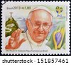 BRAZIL - CIRCA 2013: a stamp printed in Brazil commemorative of pope Francis I visit to the World Youth Day 2013 held in Rio de Janeiro, circa 2013.  - stock photo