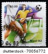 BRAZIL - CIRCA 1982: A stamp printed in Brazil showing FIFA World Cup in Brazil, circa 1982 - stock photo