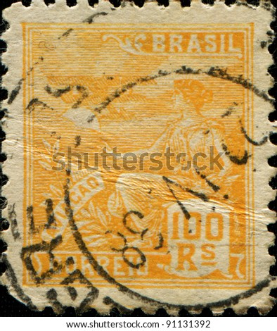 BRAZIL - CIRCA 1920: A stamp printed in Brazil shows Aviation mythology and Mythical Creatures aircraft, circa 1920