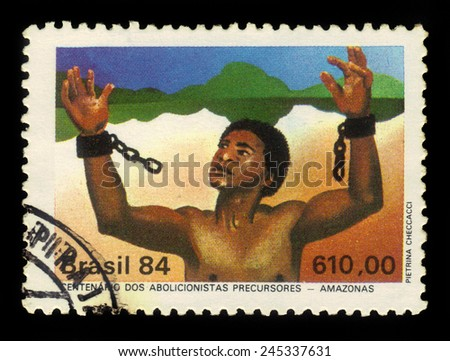 Brazil - CIRCA 1984: a stamp printed in Brazil shows slave tearing the chain, abolition of slavery in countries of Amazon, circa 1984 - stock photo