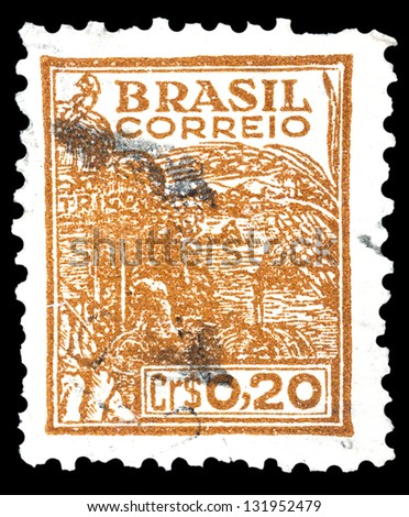 "BRAZIL - CIRCA 1941: A stamp printed in Brazil shows Wheat harvesting machinery, without inscription, from the series ""Agriculture and Farming"", circa 1941"