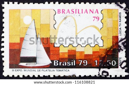 BRAZIL - CIRCA 1979: A stamp printed in the Brazil shows Snipe Class, Yachts and Stamps, Brasiliana �¢??79, 3rd World Thematic Stamp Exhibition, Sao Conrado, circa 1979 - stock photo