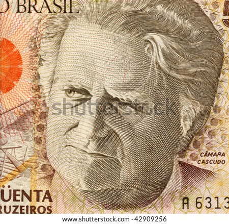 BRAZIL - CIRCA 1992: Camara Cascudo on 50000 Cruzerios 1992 Banknote from Brazil. Anthropologist, folklorist, historian, lawyer, journalist and lexicographer.