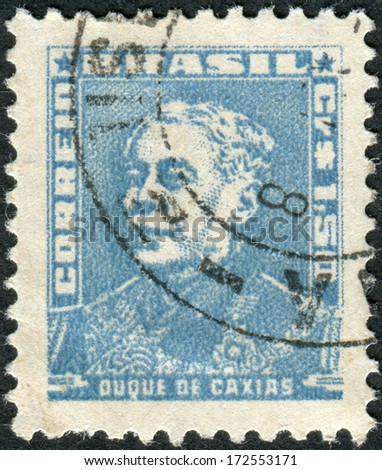 BRAZIL - CIRCA 1954: Postage stamp printed in Brazil, shows a military officer, politician and monarchist, Luis Alves de Lima e Silva, Duke of Caxias, circa 1954