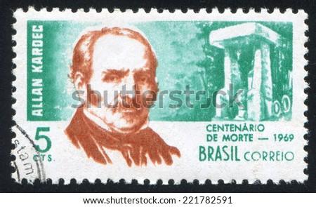 BRAZIL - CIRCA 1969: stamp printed by Brazil, shows  Allan Kardec, circa 1969 - stock photo