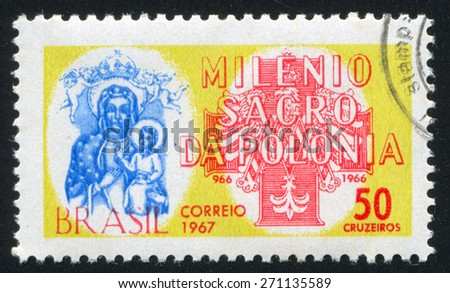 BRAZIL - CIRCA 1966: stamp printed by Brazil, shows  Black Madonna of Czestochowa, Polish Eagle and Cross, circa 1966 - stock photo