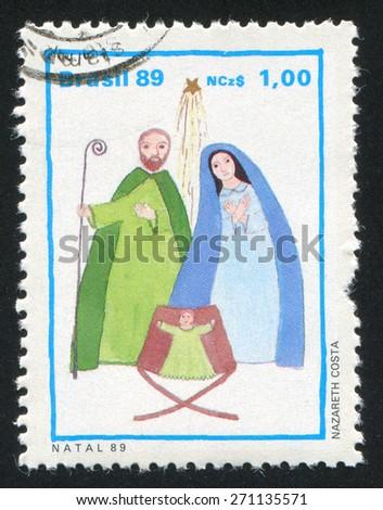 BRAZIL - CIRCA 1989: stamp printed by Brazil, shows  christmas, circa 1989 - stock photo