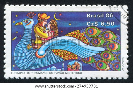 BRAZIL - CIRCA 1986: stamp printed by Brazil, shows  Cordel Folk Tales, circa 1986 - stock photo