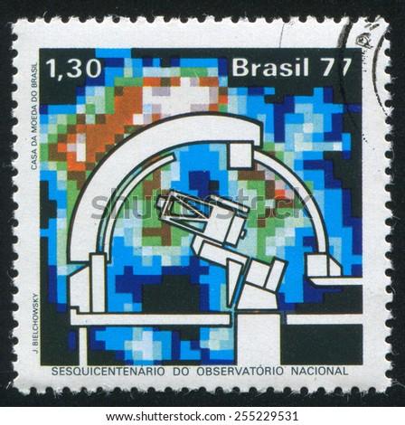BRAZIL - CIRCA 1977: stamp printed by Brazil, shows  Dome and Telescope, circa 1977 - stock photo