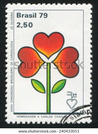 BRAZIL - CIRCA 1979: stamp printed by Brazil, shows  Emblem and Brazilian Pavilion, circa 1979 - stock photo