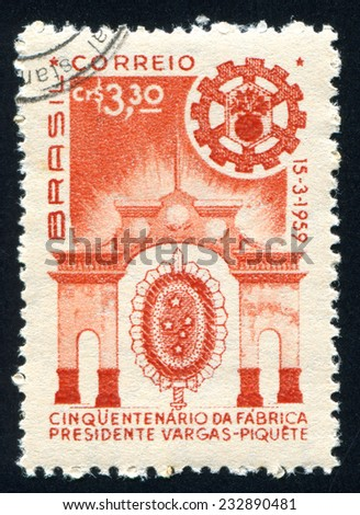 BRAZIL - CIRCA 1959: stamp printed by Brazil, shows  Factory Entrance and Order of Southern Cross, circa 1959 - stock photo